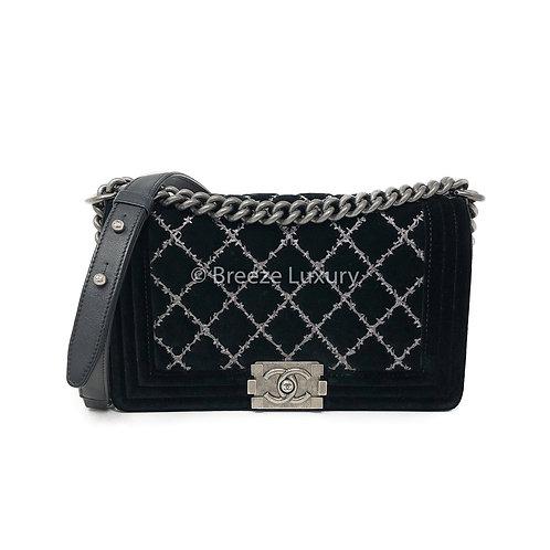 Chanel Diamond Quilted Black Velvet Medium Boy Bag