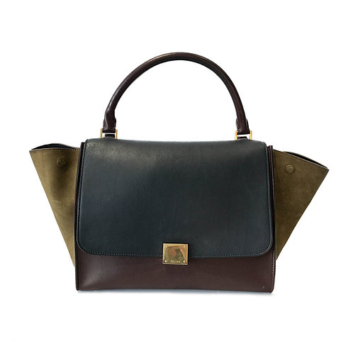 Celine Tri Color Smooth Leather and Suede Medium Trapeze Bag