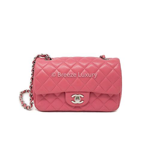 Chanel Pink Lambskin Mini Rectangular Flap