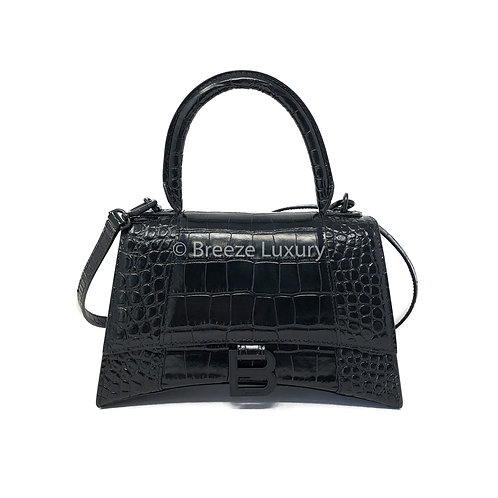 Balenciaga Black Croc Small Hourglass Bag