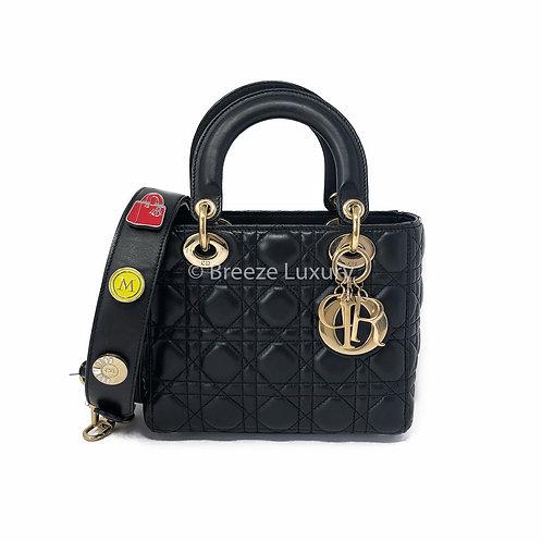 Christian Dior My Lady Black Leather Shoulder Bag