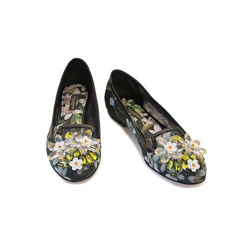 D&G Floral Print Jewel Flat