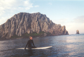 Surfing at Morro Rock