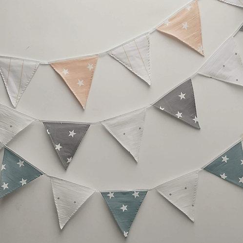 Banderines lienzo estrellas y puntos