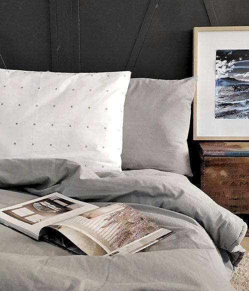 COMBO cama TWIN funda de edredon liso+ 2 almohadones 50x70