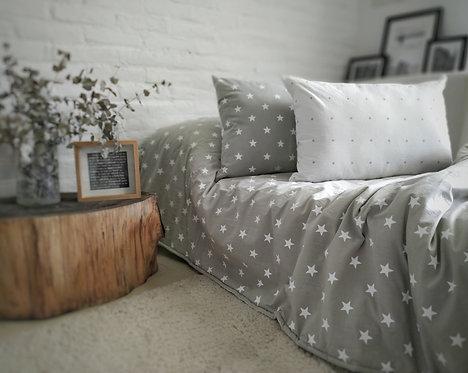 Acolchado cama plaza y media tusor estampado