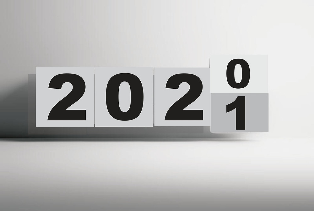 2020 numbered tiles changing to 2021 time passing new year