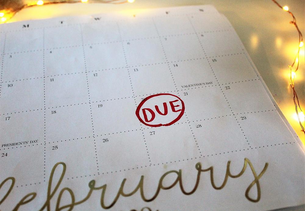 Due date on calendar