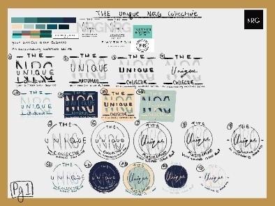 Sketch ideas for Unique NRG logo design process