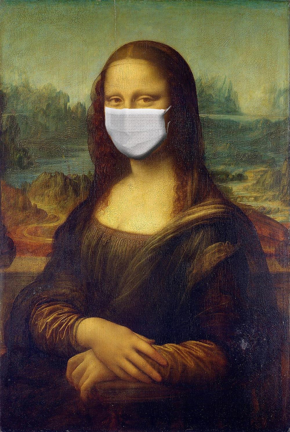 Monalisa with mask due to coronavirus or covid-19