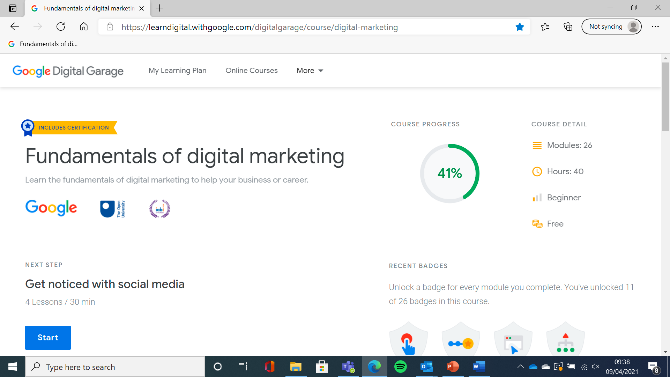 Screenshot of google Fundamentals digital marketing course
