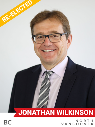 Jonathan Wilkinson (Liberal, North Vancouver) has worked on critical environmental and resource management issues since his election to Parliament in 2015. Prior to this, Wilkinson worked for over 15 years as a senior executive in the clean technology sector, focusing primarily on greenhouse gas emissions and water quality. In his role as an MP, he led governmental work on species at risk, clean technology, and water regulations as Parliamentary Secretary to the Minister of Environment and Climate Change. He then served as Minister for Fisheries and Oceans, enhancing conservation approaches and accelerating marine protection standards. Since 2019, he has served as Minister of Environment and Climate Change, and led the development of Canada's Strengthened Climate Plan and Canadian Net-Zero Accountability Act. He secured historic funding for Nature, which includes expanded funds for Indigenous protected and Conserved areas and Guardians programming.