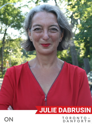 """Julie Dabrusin (Liberal, Toronto-Danforth) has been an effective environmental advocate since being elected to Parliament in 2015. Dabrusin's environmental work started at a community level, volunteering with parks, preventing food waste, and promoting active transportation. As an MP, Dabrusin has championed green investment, including: active transportation, retrofitting buildings, and investments in Toronto's ravines and Lake Ontario. She has advocated for modernizing the Canadian Environmental Protection Act (CEPA) to include a """"right to a healthy environment"""" in the legislation. Her advocacy has supported a ban on single-use plastics and building a circular economy. Dabrusin is a strong voice for carbon pollution pricing, opposing oil sands expansion, and encouraging the transition to a low-carbon economy. As the only urban member of the All-Party Agricultural Caucus, she has advocated for support to reduce carbon emissions and innovation for more sustainable agriculture."""