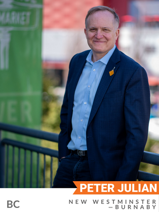 Peter Julian (NDP, New Westminster—Burnaby) is one of the founding members and former Executive Director of the Council of Canadians. As an MP since 2004, he served in the last session of Parliament as NDP House Leader and Finance Critic. Julian has been an active member of the House, bringing forward environmental motions and bills in every parliament, including to combat systemic racism, for corporate social responsibility, to halt the Trans Mountain pipeline, for the investment in a Green New Deal and more. He frequently collaborates with labour and environmental groups and has worked with the Qayqayt First Nation to terminate the Trans Mountain pipeline project.