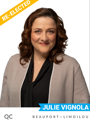 Julie Vignola (Bloc, Beauport—Limoilou) has been a vocal champion for stronger, faster climate action since being elected in 2019.  Walking the talk, her constituency office has been certified as carbon neutral. She played a key role in stopping the Laurentia project, a proposed deep-water container terminal project in Québec over its projected environmental impacts. Vignola was a teacher before entering politics.