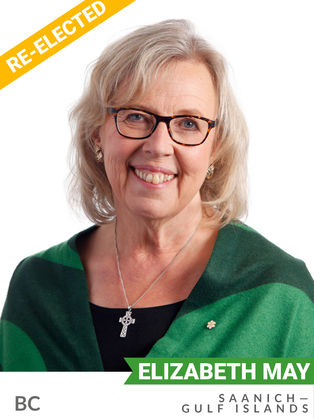Elizabeth May (Green, Saanich-Gulf Islands) has been an environmental champion her whole life. She is widely recognized for her voice on major local and national environmental issues past and present, from herbicide use to acid rain to climate change. From 1986-1988, she served as Senior Policy Advisor to the federal Minister of the Environment, establishing federal-provincial and US-Canada environmental agreements.  She served as Executive Director of the Sierra Club of Canada from 1989-2006. An MP since 2011, May has worked tirelessly to pursue environmental and climate progress in Parliament, presenting hundreds of amendments to strengthen environmental legislation and helping to move Canada to embrace a 1.5-degree target at COP21.  May co-founded the All-Party Climate Caucus to advance cross-party collaboration on the climate crisis. She also serves as co-convener of Global Greens Parliamentarians, championing environmental issues worldwide.
