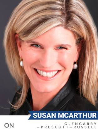 Susan McArthur (Conservative, Glengarry-Prescott-Russell) has decades of experience in sustainable finance.  As Managing Partner at GreenSoil Investments, she enabled innovation and technologies for smarter and more efficient use of energy and water, sustainable agriculture and building efficiency.  She has worked with government and investors for the classification of natural assets as a recognized asset class (just like shares and bonds). McArthur was recognized with the Clean50 award in 2013.