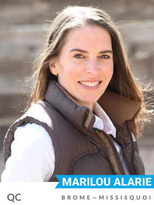 Marilou Alarie (Bloc, Brome—Missisquoi) worked as an agricultural producer until her successful run for councillor for St. Bruno de Montarville in 2013. As councillor, she championed the environment on key files like public transit, land use planning and conservation. Alarie has been widely recognized for her work to protect the Forêt des Hirondelles, a critical habitat for native flora and fauna on Mount Saint Bruno in southern Québec. Her efforts earned her the 2017 prize from the Coalition Verte du Grand Montréal. Alarie has served on the Board of Nature Québec since 2018.