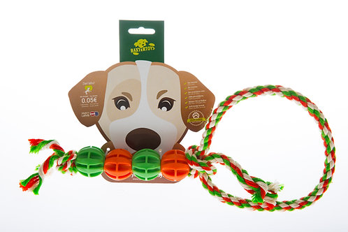 (B4U) Tug-of-war toy with 4 balls and a loop