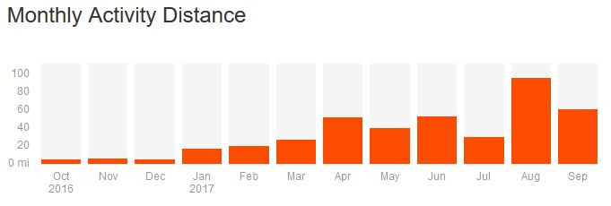 My Monthly Activity Distance Tracked via a popular running application on my nobile device.
