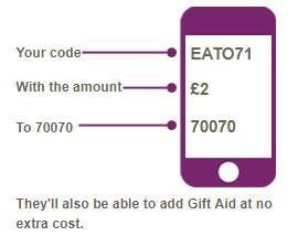 Text Giving : Text EATO71 with your amount to 70070