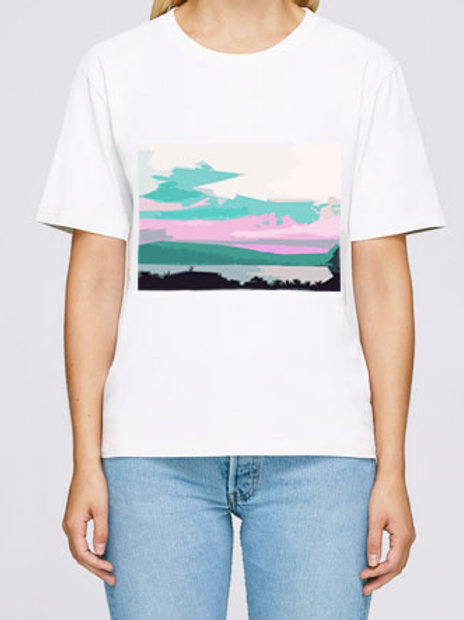 Tee shirt coupe droite blanc motif Sunset