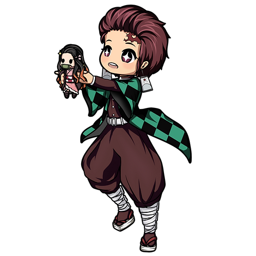 Tanjirou holding Nezuko plush