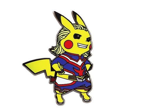 Pikachu as Allmight Hard Enamel Pin