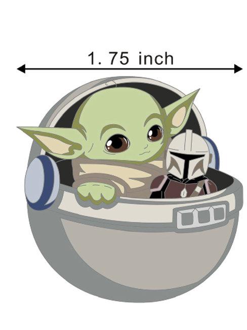 Baby Yoda holding Mando plush