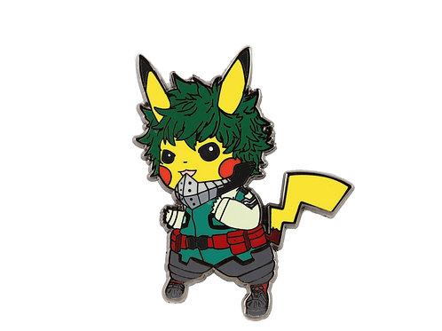 Pikachu as Deku Hard Enamel Pin