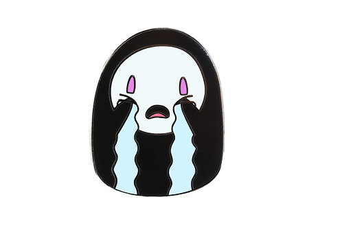 No Face Crying Emoji Hard Enamel Pin
