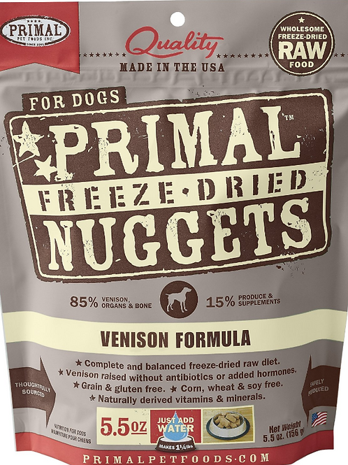 Primal Foods: Freeze-Dried Venison Nuggets 5.5oz