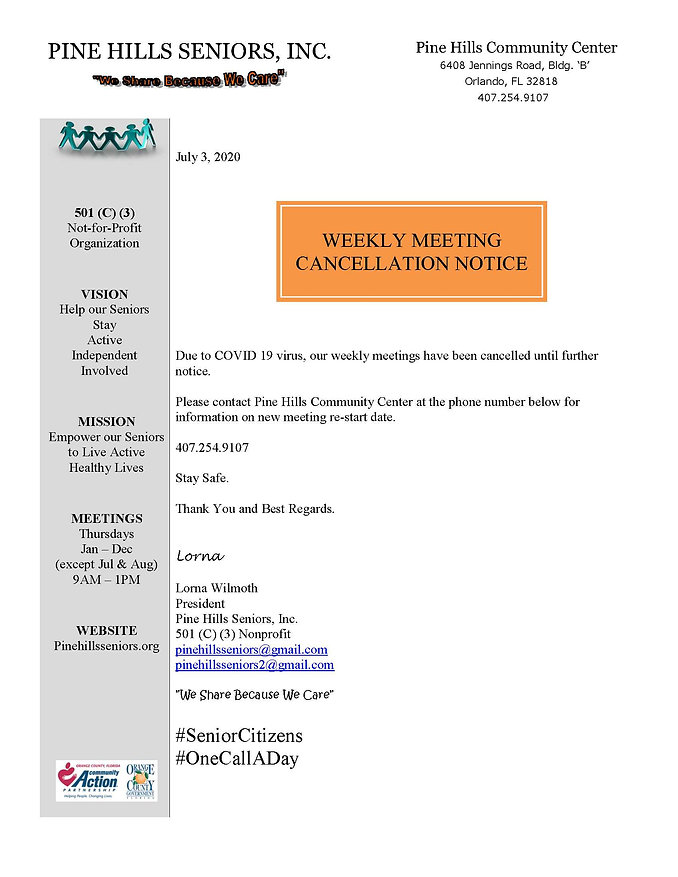 Weekly Meeting Cancellation Notice- 2020
