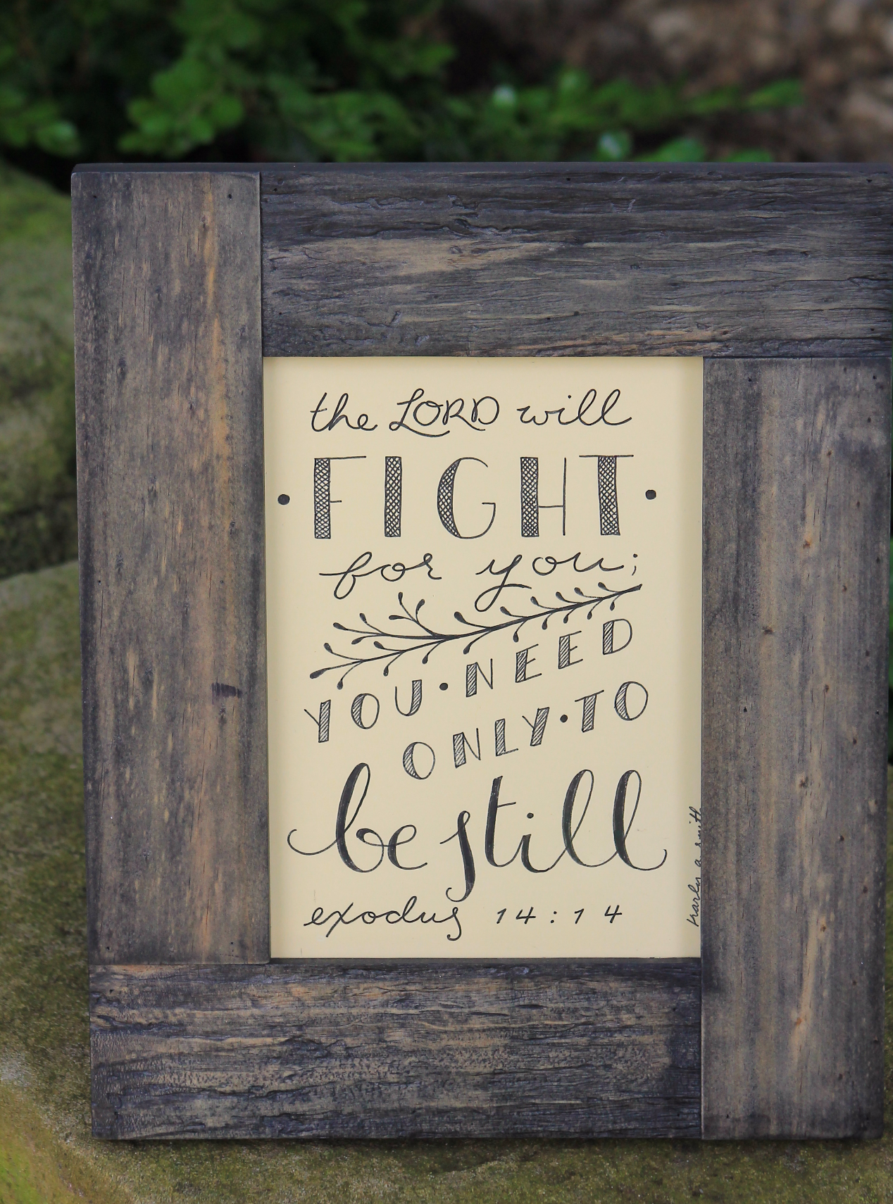 Be Still framed handlettering