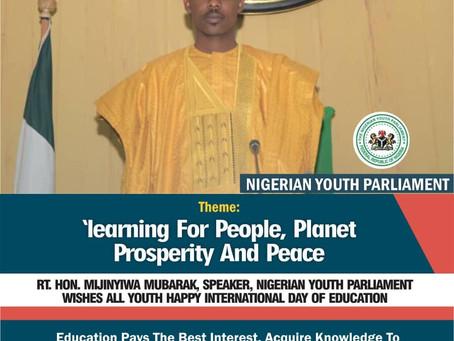 The Speaker, NYP, RT. HON  MIJINYIWA MUBARAK wishes all Youth Happy International Day of Education.