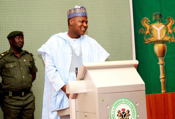 Former Speaker of the Federal House of Representatives (8th Assembly) Rt Hon Yakubu Dogara addressing the Members of the Nigerian Youth Parliament during their sitting at the National Assembly Chambers