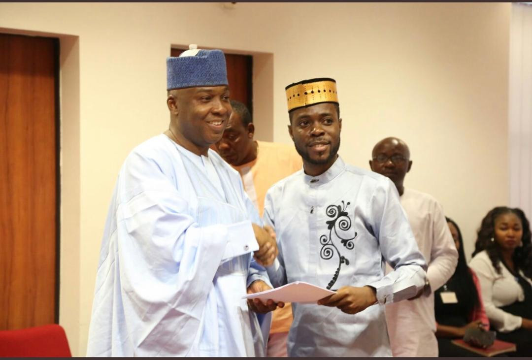 Former Senate President Dr Bukula Saraki receives the Nigerian Youth Parliament under the leadership of the 3rd Assembly Speaker Rt Hon Ayodele Obe