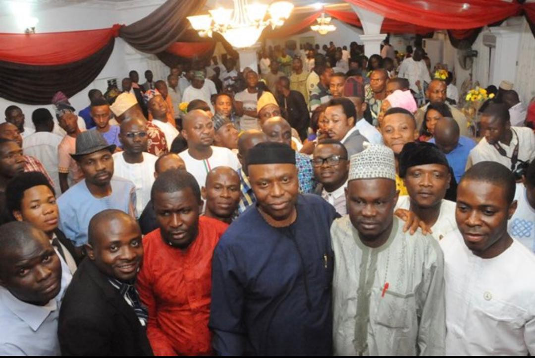 Governor Mimiko of Ondo state hosting Member of the Nigerian Youth Parliament in Akure, Ondo State.