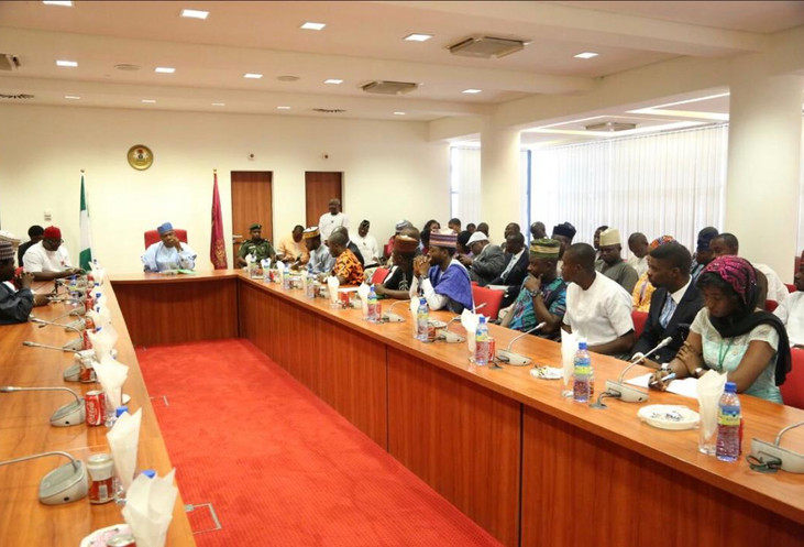 Former Senate President Dr Bukula Saraki receives the Nigerian Youth Parliament under the leadership of the 3rd Assembly Speaker Rt Hon Ayodele Obe