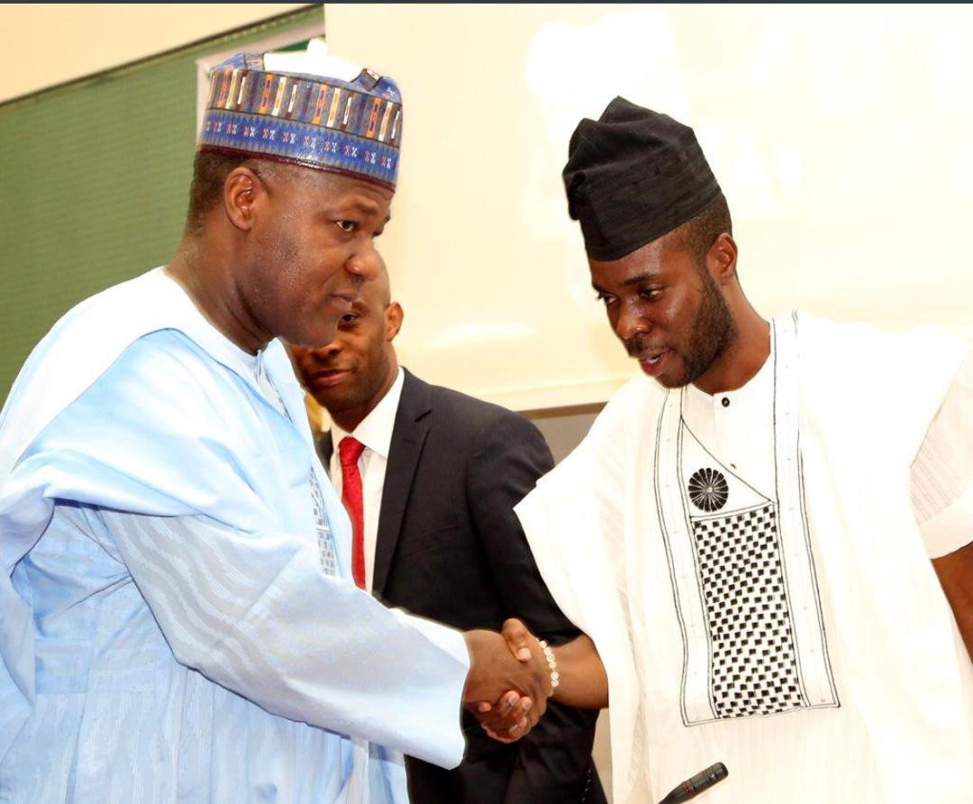 Speaker of the 8th Assembly of the Nigerian House of Representatives Hon Yakubu Dogara and Speaker of the 3rd Assembly of the Nigerian Youth Parliament Rt Hon Ayodele Obe