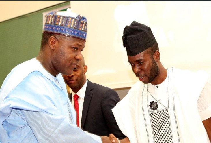 Speaker of the 8th Assembly of the Nigerian House of Representatives Hon Yakubu Dogara and Speaker of the 3rd Assembly of the Nigerian Youth Parliament Rt Hon Ayodele Obe