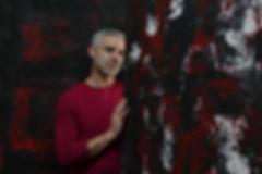 photograph of the artist Bilal Chahal in his studio in Bogota Colombia by Olga Lucia Jordan