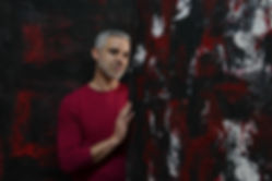 photograph of the artist Bilal Chahal in his studio in Bogota Colombia by Olga Lucia Jordan