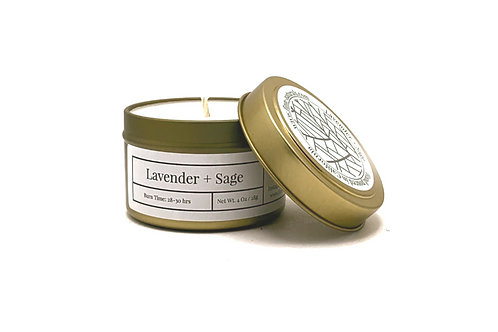 Lavender + Sage Scented Soy Travel Candle