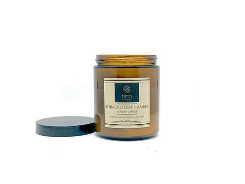 Tobacco Leaf + Amber Scented Soy Candle