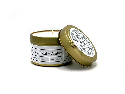 Tobacco Leaf + Amber Scented Soy Travel Candle