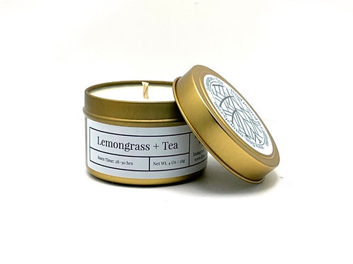 Lemongrass + Tea Scented Soy Travel Candle