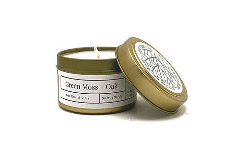 Green Moss + Oak Scented Soy Travel Candle