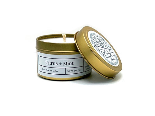 Citrus + Mint Scented Soy Travel Candle