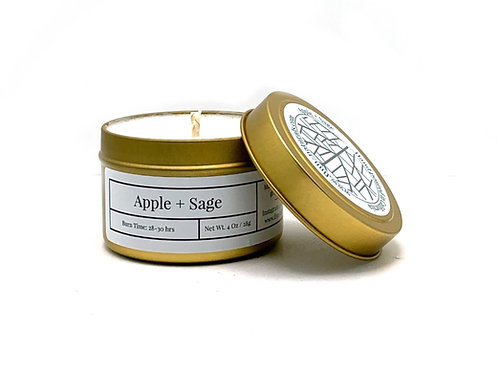 Apple + Sage Scented Soy Travel Candle